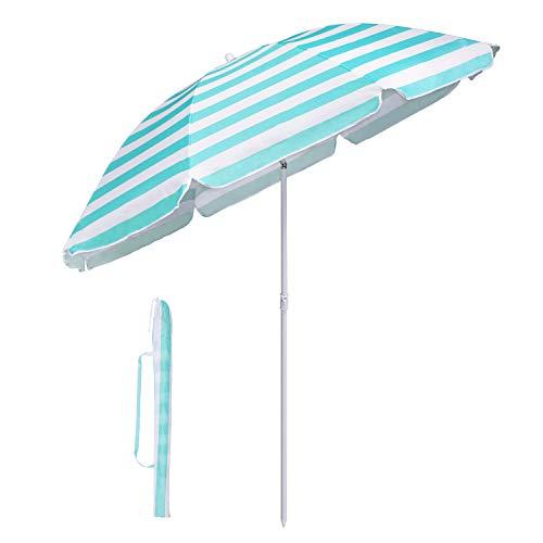 Sekey Sonnenschirm 160 cm Marktschirm Gartenschirm Terrassenschirm Rund Sonnenschutz UV20+ Turquoise Streifen