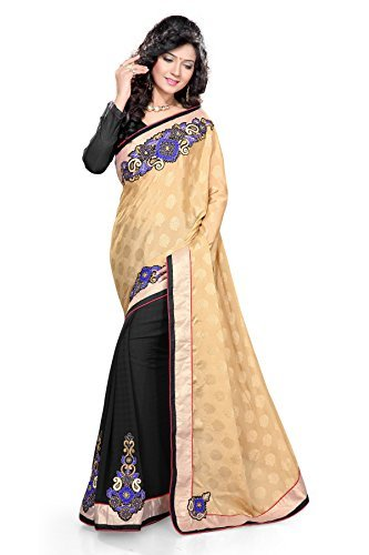 SOURBH Women's Jacquard,Faux Georgette Saree (136_Beige,Blue)  available at amazon for Rs.995