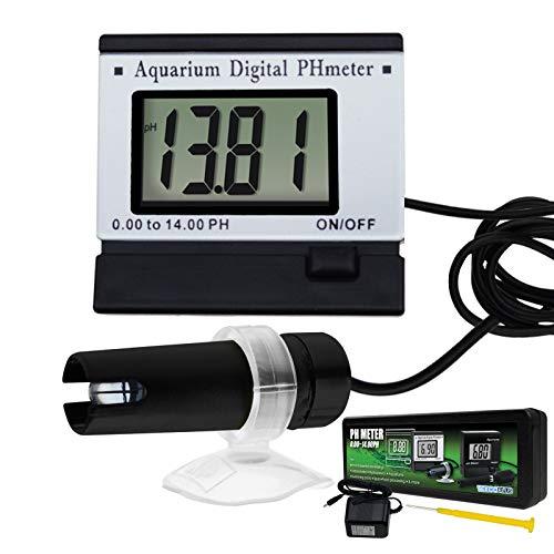 TEKCOPLUS Digital pH LCD Water Quality Meter ATC 0~14.00pH Tester Monitor 1.5m/4.9ft Replaceable BNC Electrode Probe Adjustable Mounting Bracket Aquarium Tank Waterproof w/Adaptor