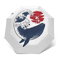 Whale Wave Hokusai Style Windproof Compact Auto Open and Close Folding Umbrella,Automatic Foldable Travel Parasol Umbrella