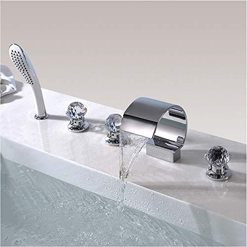 Badewanne Wasserhahn, Wasserfall Fünf-Loch Wasserhahn, Bad heiß und kalt Bad Wasserhahn, Messing Körper, Chrom - Delta-badewanne-griffe