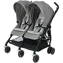 Bébé Confort Dana For 2, Poussette Double Compacte pour Jumeaux /Enfants Rapprochés , de la Naissance à 3,5 ans ( 0-15 kg), Nomad Grey
