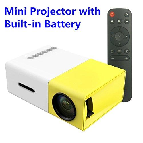 Beweglicher Miniprojektor, HuiHeng Multimedia LED Projektor Unterstützungs SD / AV / USB / HDMI Eingang für Video Film Spiel Unterhaltung Hauptkino Theater Projektor mit Fernsteuerungs und eingebauter Lithium Batterie