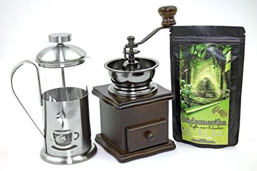 Kaffee Geschenk-Set Südamerika 250 g Länderkaffee aus Kolumbien Ganze Bohnen, Retro-Kaffeemühle und Stempelkanne 350 ml