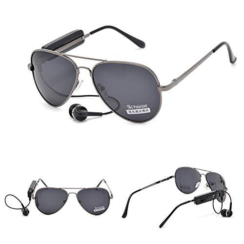 LYY Intelligente Bluetooth-Headset-Brille, polarisierte Musik-Stereo-Sonnenbrille, UV-beständig, Kratzfest für alle Gesichtstypen - Unisex für Erwachsene,Gray