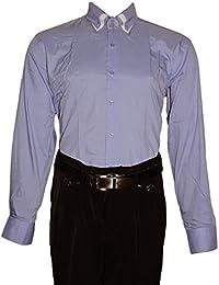 Designer Herren Hemd klassischer 2 Kragen 2 Knopf Herrenhemd Slim Fit tailliert Langarm Schwarz Weiß Blau Pink
