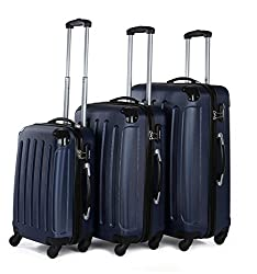 BEIBYE suitcase color selection !! 3 tlg. Travel Suitcase Trunk Case Trolley (Dark Blue)