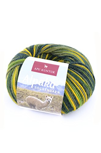 ALPAKA SOCKENGARN 50g 200m Nadel 2,5 Socken-Wolle Strick-Garn Woll-Knäuel APU KUNTUR grün-gelb (Superwash-wolle-socke-garn)