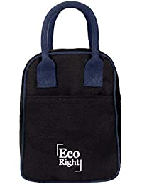 Eco Right Insulated Lunch Bag for Office Men, Women and Kids, Quality Canvas Tiffin Bag for School, Picnic, Work, Carry Bag for Lunch Box | Black | 0703