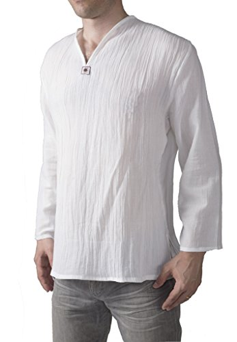 Lofbaz Homme Thai T-Shirt avec Col-V Long Sleeve Blanc M