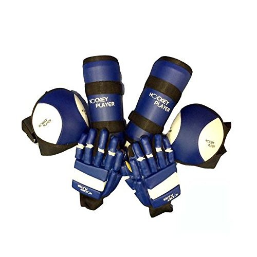 HOCKEYPLAYER Set Compuesto por un par de Guantes, un par de Rodilleras y un par de Espinilleras de Jugador de Hockey Sobre Patines de Ruedas en Paralelo Fabricado en Vinilo Modelo Eco (Azul, L)