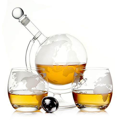 Whisky Karaffe 750 ml Mundgeblasen GLOBUS und 2 Gläser Set je 350ml Glas-Karaffe Welt Dekanter Flasche 0,75 Liter l Glasflasche Likör Schnaps Wein Dekantierer (Globus Glas Set) (Dekanter Wein Karaffe)