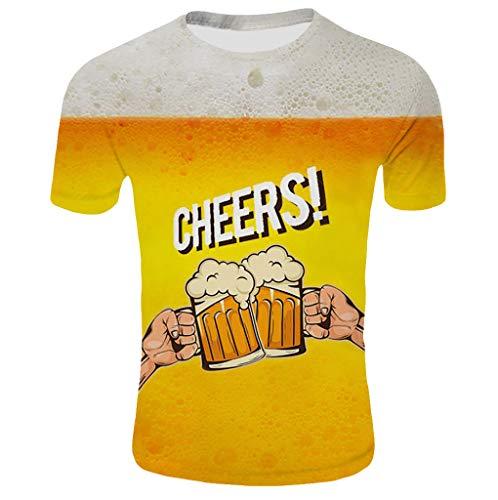 Herren 3D Print Baumwolle Kurzarm Bierfest T-Shirt Herren Sommer 3D Gedruckt Kurzen ÄRmeln Mode Komfort Bluse Top - Tencel-camp-shirt