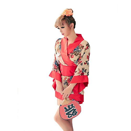 ens Anime Cosplay Kostüme Japanische Kimono Uniform Sexy Dessous Set,Rock + T-Hose (geeignet Für 40-65kg Frau),Red-OneSize ()