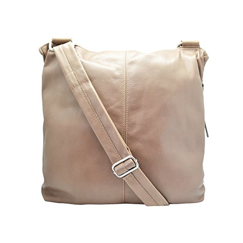 SUNNY Sac à bandoulière déployante sac a rabat grand et spacieux, cuir souple de vachette, fabriqué en Italie beige