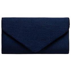 Caspar TA500 elegante Damen Envelope Satin Clutch Tasche Abendtasche, Farbe:dunkelblau, Größe:Einheitsgröße