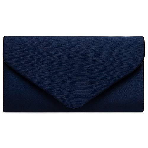 Caspar TA500 elegante Damen Envelope Satin Clutch Tasche Abendtasche, Farbe:dunkelblau, Größe:Einheitsgröße -
