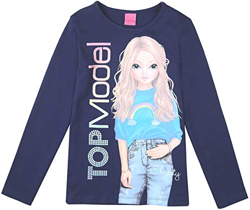 Top Model Mädchen Langarm Shirt Christy 85025 Dunkelblau (164)