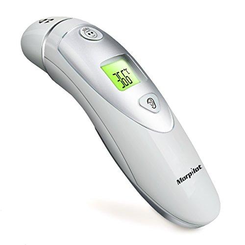 Morpilot Termómetro de infrarrojos digital para la frente y el oído Modo duble para adultos y bebés – Una segunta de medición precisa fiebre 20 Recuperación de memoria segura e higiénica