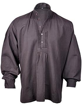 Mygothicshop Camicia da uomo, stile pirata rinascimentale, hippie, caraibico medievale, marrone