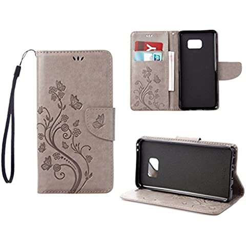 RanRou Galaxy Note 7 Funda Leather Funda [Butterfly Flower Pattern],Samsung Galaxy Note 7 Funda Flip PU Leather Wallet Card Slot Stand Funda Cover For Samsung Galaxy Note 7 Funda -gray