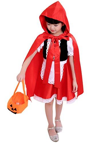 Rotkäppchen Kostüm Mädchen - Mädchen Faschingskostüme Karnevalskostüm Anzug Kostüme Fasching Karneval Party Kleid Cape Minikleid Märchen Kostüm Gr.90-160 (Rotkäppchen Kostüme für Mädchen, Etikett 120CM Für Körpergröße 111-120cm)