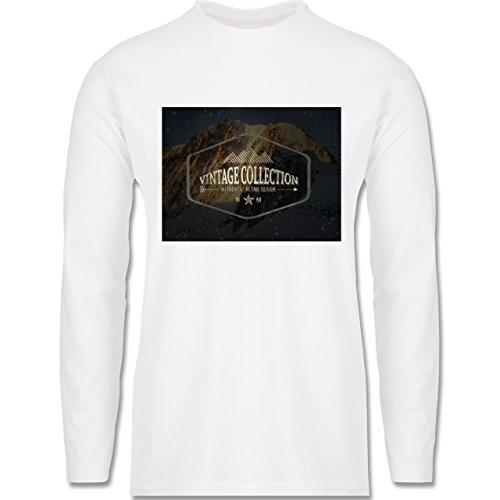 Wintersport - Retro Design Berge - Longsleeve / langärmeliges T-Shirt für Herren Weiß