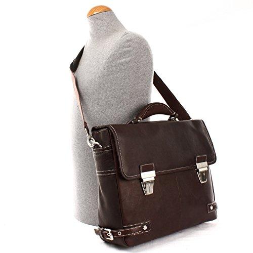 HEILEMANN große Aktentasche Businesstasche Damen Herren Leder dunkelbraun HE3001