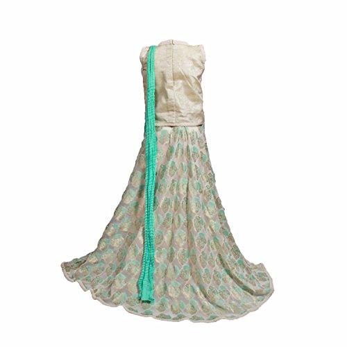 Sparkling Threads cream color lehenga with dupatta for girls