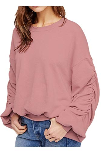 Oberteile Frauen Paffen Ärmel Ruched Fallen Winter Einfach Sweatshirt Bluse Elegante Party Stil Fashion Rundhals Pullover Shirt Tops Mädchen (Color : Pink, Size : XL)