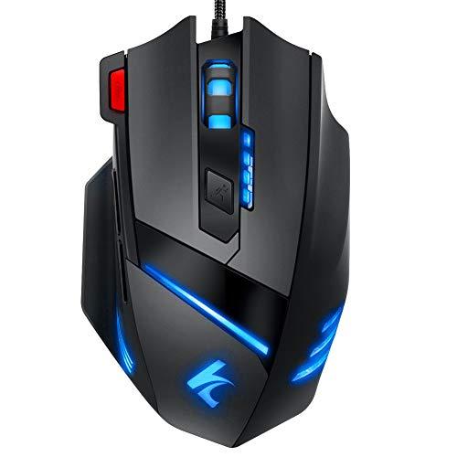 Gaming Maus RGB LED Mäuse, Xergur 5000DPI PC Gaming Mouse Hohe Präzision mit 8 programmierbaren Tasten,LED Ergonomisches Professionelle Optische USB Wired Maus Für Laptop PC Mac Computer (Schwarz)