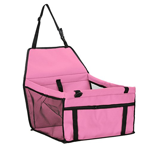 Demiawaking Faltbarer Haustier-Hunde Katzen Autositz Safe Reise Träger Zwinger Welpen Handtasche (Rosa)