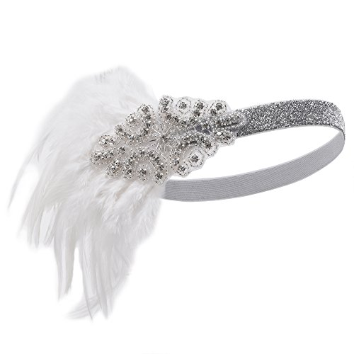 Preisvergleich Produktbild Kayamiya Damen 1920er Jahre Stirnband Art Deco Inspired Flapper Hochzeit Braut Kopfschmuck Platin