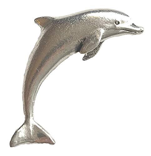 Pewter Badge Pin Pins Anstecker Delfin in Geschenk Box für Schals, Band, für Hüte, Mäntel und Tasche Tasche Mäntel