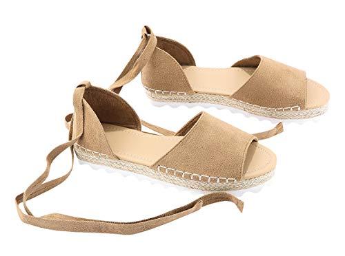 Pxmoda Damen Espadrilles binden Flache Sandalen Peep Toe Klassische Espadrille Schuhe (39, Beige) Faux Suede Peep-toe