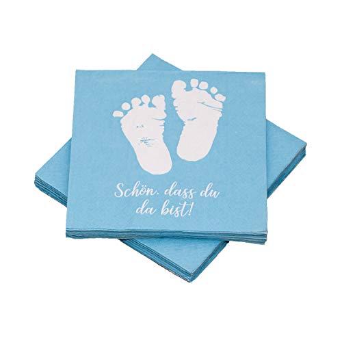 in due 20 Servietten Babyfüße 'Schön, DASS du da bist!' 33x33 cm - hellblau - für Geburt, Taufe, Babyshower