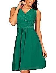 My Evening Dress -Vestido corto fiesta cóctel en gasa cuello pico