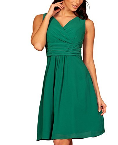My Evening Dress -Vestido corto fiesta cóctel en gasa cuello pico, verde oscuro, 44