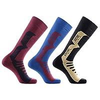 Laulax 3 Pairs Mens Cashmere-Like Long Hose Ski Socks, Size UK 7-11 / Europe 41-46, Black, Blue, Burgandy