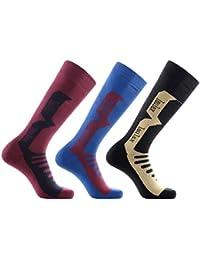 Laulax 3 Pairs Mens Cashmere-Like Long Hose Winter Thermal Ski Socks, Size UK 7 - 11 / Europe 40 - 46, Gift Set, Black, Burgundy, Blue