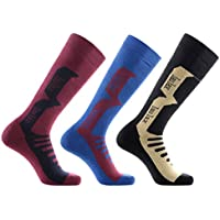 Laulax 3 Pairs Mens Cashmere-Like Long Hose Winter Thermal Ski Socks, Size UK 7 - 11 / Europe 40 - 46, Gift Set, Black, Burgundy, Blue
