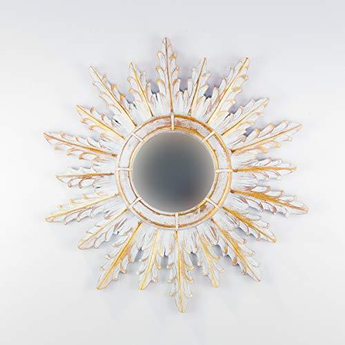 Rococo Espejo Decorativo Tipo Sol de Madera Urban Surya de 50x50 en Blanco y Pan de Oro