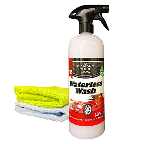 waterless-wash-and-wax-car-cleaner-1-litre-bundled-with-2-microfibre-cloths-by-diamond-shine-system-