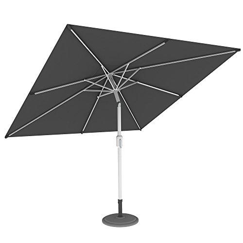 paramondo interpara Sonnenschirm 3 x 3m (quadratisch/grau)/Gestell inkl. Standfuß (anthrazit)