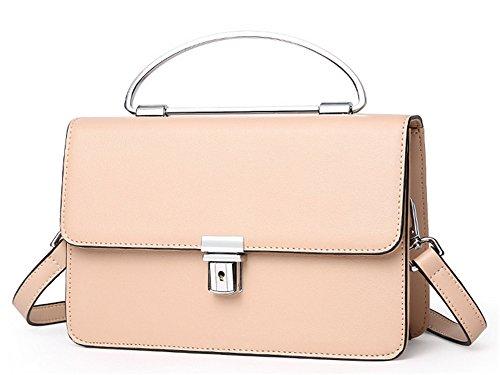 Xinmaoyuan Damen Handtaschen kleine Quadratische Tasche Leder Tasche für Damen Schnalle Umhängetasche Messenger Schulter Farbe einheitlich Verpackt Handtasche, Schwarz Rosa
