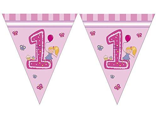 en - Erster Geburtstag Triangel Flaggen Banner (Erster Geburtstag Einladungen Girl)