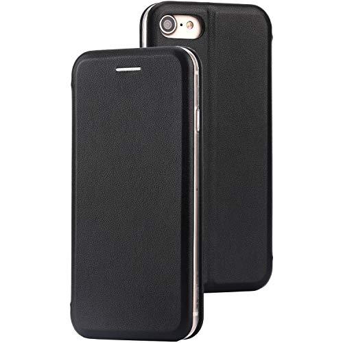 CASYLT iPhone 7 & 8 Flip-Case Hülle [Deluxe Leder Case] Flipcase Handyhülle mit Magnetverschluss und Standfunktion Schwarz kompatibel für iPhone 7 & 8