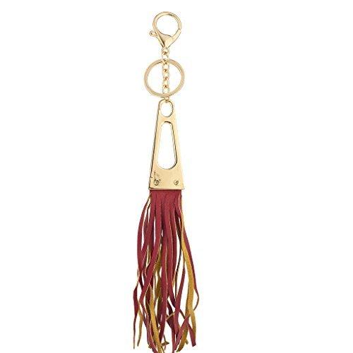 LUX Zubehör Gold Tone und rot Stoff Quaste dreieckig Tasche Charm Schlüssel Kette