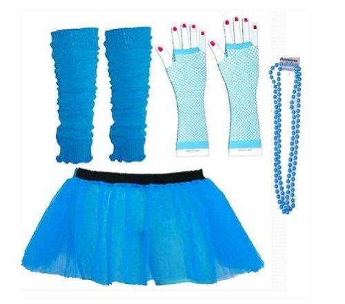 ens 8-14 Neon Blue Turquoise Tutu Set Tutu Legwarmers Fishnet Gloves Beads 80s Fancy Dress Costume (RB Fashions Clothing) ()