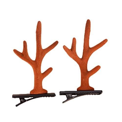 Kopfbedeckung Klammern Kostüm - Demino 1 Paar Nette Deer Katzenohren Antlers Haarnadel Ohr Weihnachten Kopfbedeckungen Cosplay Haar-Klipp-Weihnachtsfest-Performance-Kostüm Zubehör Kaffee